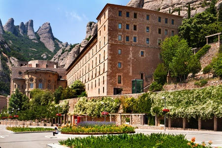 Montserrat Monastery is a beautiful Benedictine Abbey high up in the mountains near Barcelona, Catalonia, Spain. Stock Photo