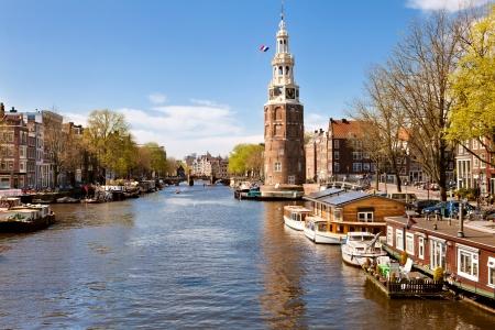 Klassieke landschap van Amsterdam, Nederland Stockfoto