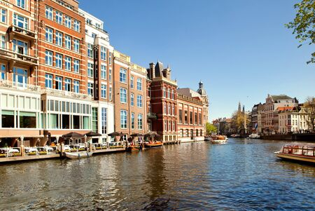 Amsterdam channel in a sunny day, Netherlands photo