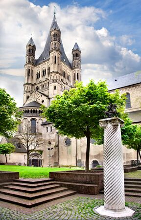 Great Saint Martin Church in old town. Cologne.