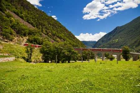 Swiss mountain train Bernina Express Stock Photo