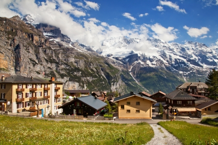 Murren in summer, famous Swiss resort Standard-Bild
