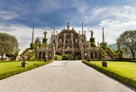 Park on the island of Isola Bella. Lake Maggiore. Italy.