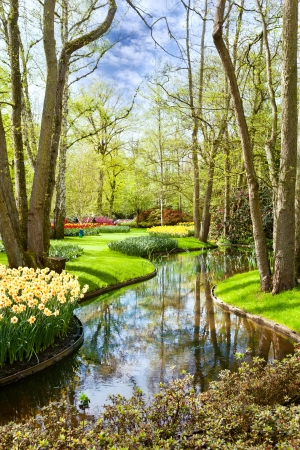 Beautiful landscape with a pond in park Keukenhof (Netherlands) Stock Photo - 16664876