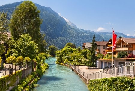 Beautiful view of the river and the house to Interlaken, Switzerland Stock Photo
