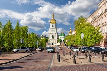 Uitzicht op de klokkentoren en de heilige Sophia kathedraal, Oekraïne