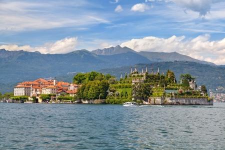 Panorama van Isola Bella op Maggiore meer, Italië Stockfoto