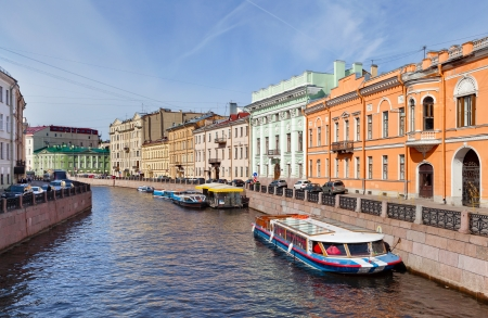 Center of St  Petersburg  The channel with ancient buildings  Russia
