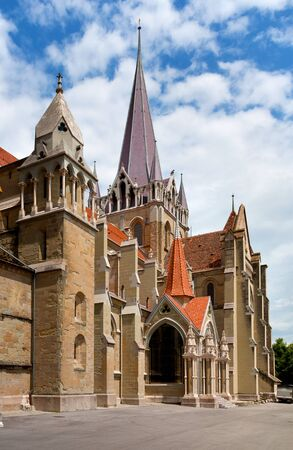 collegial: Church of Neuchatel - religious building of the XII-th century, Switzerland  Stock Photo