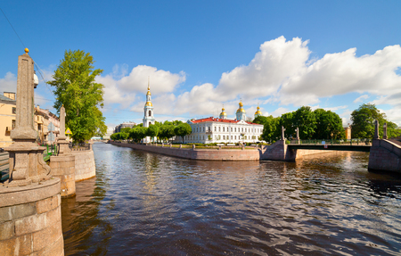 Uitzicht op St Nikolas kathedraal St Petersburg Rusland Stockfoto