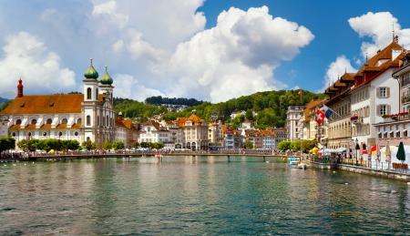 jesuit: River Reuss and Jesuit church, Lucerne, Switzerland