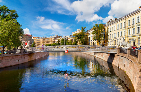 The lions bridge through Griboyedov Canal (St. Petersburg)