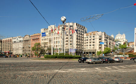 settled: KIEV - MAY, 1  2013  Evropeyskaya Square is the beginning of the main street of Kiev – the Khreshchatyk on may, 1  Evropeyskaya Square in Kiev received the name thanks to the hotel of the same name which once settled down on this place