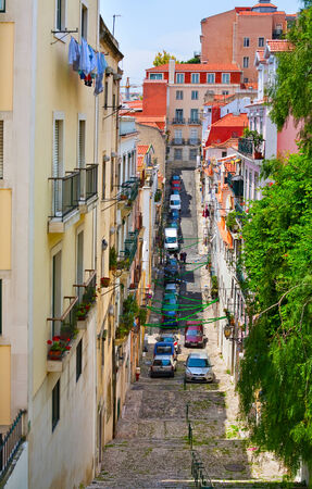 narrow street: The traditional narrow street in the center of Lisbon, Portugal