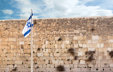 Israeli flag on  the wailing wall