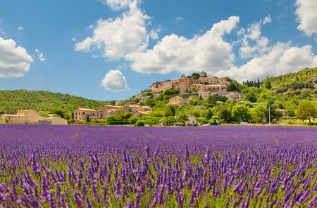 Town with lavender field. Provence, France. Stock Photo