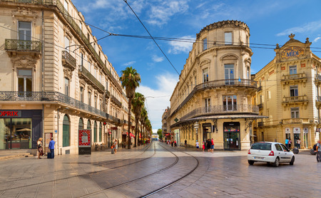 MONTPELLIER, FRANCE - JULY 13: The streets of the old city on july 13, 2014 in Montpellier.