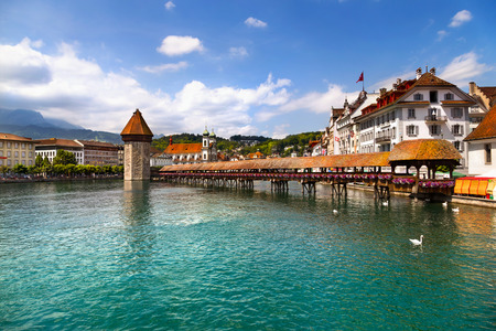 Famous wooden Chapel Bridge in Lucerne, Switzerland 写真素材