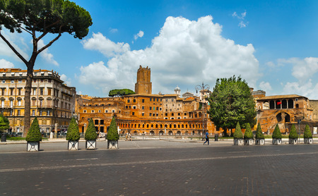 archaeological sites: ROME, ITALY -JULY 10, 2015: The Trajans market and Imperial Forum Museum form one of the largest archaeological sites of Rome. Italy
