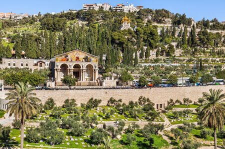 Church of All Nations and the Orthodox Church on Mount Of Olives. Jerusalem, Israel.