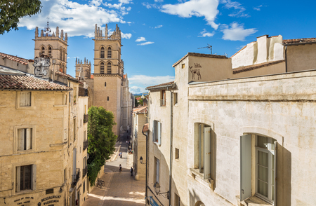 MONTPELLIER, FRANCE - JULY 9, 2014: The street leading to the Saint Pierre Cathedral on July 9, 2014 in Montpellier, France Editorial