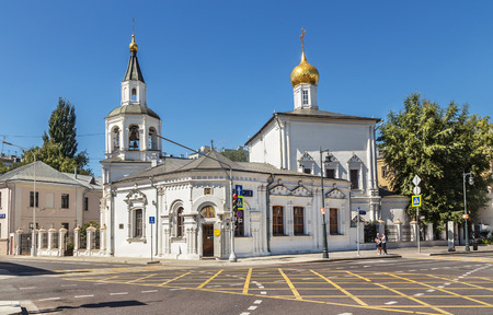 Moscow, Russia - August 11, 2018: Church of the Assumption of the Blessed Virgin Mary in Pechayniki (1695) Sretenka, Moscow.