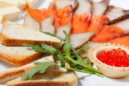 Assorted fish, salmon, salmon roe  Cold appetizer Stock Photo - 13747052