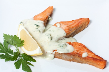 Slices of fried red fish with white sauce Stock Photo - 13859596