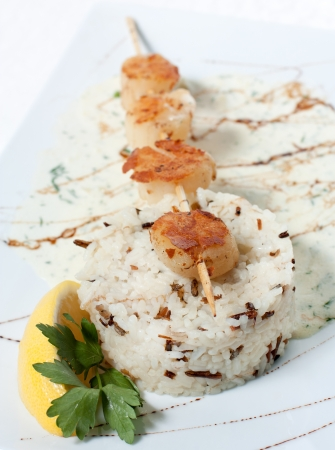White and wild rice with fish grilled on a stick. Garnish with white sauce and lemon Stock Photo - 13911672