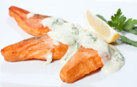 Four mouth-watering slices of grilled salmon with white sauce Stock Photo - 13970322