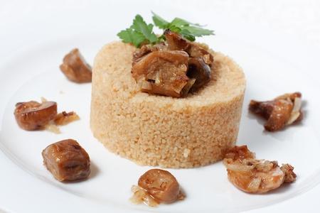 kasha: Cooked porridge with meat and mushrooms, kasha Stock Photo