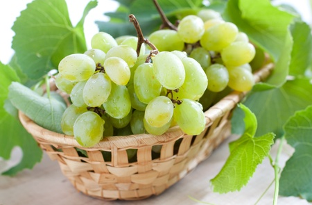 Bunches of green grapes in a wicker basket, closeup photo