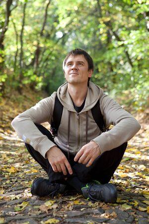 Tourist enjoys a warm autumn day Stock Photo - 15680974