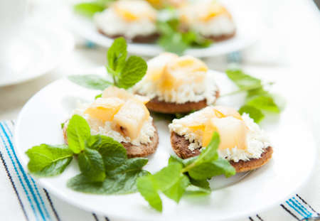 Cottage cheese and pear biscuits-fragrant dessert, close up photo