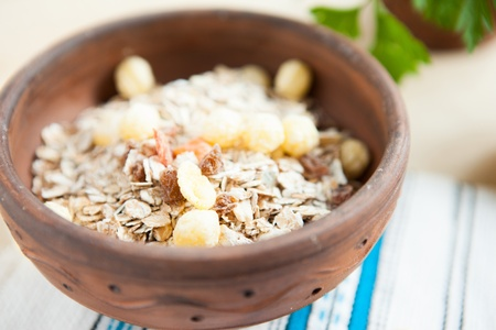 clse: Raw multi cereal with raisins, clse up Stock Photo