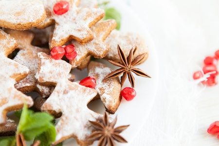cookies in the form of Christmas trees with icing sugar, close up photo