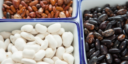 Different types of beans in containers, close up photo