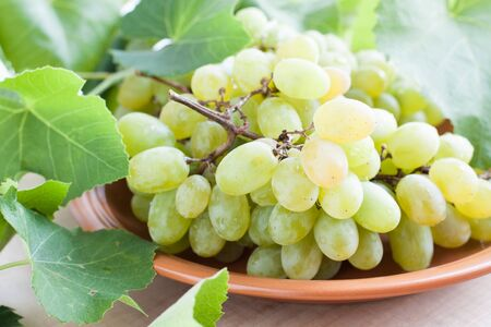 large bunch of grapes on a ceramic plate, close-up photo
