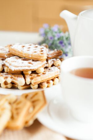 with a cup of tea and homemade pastries, close-up Stock Photo - 17120238