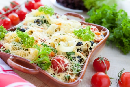 close up food: Plantaardige pasta met Parmezaanse kaas, close-up voedsel