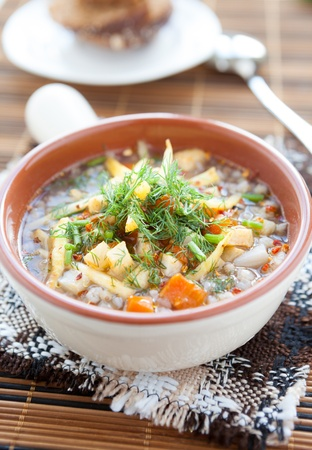 buckwheat soup with vegetables in a tureen, close up photo