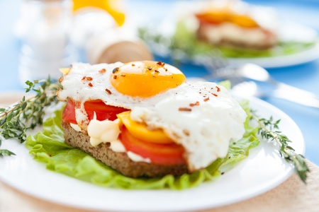 fried eggs with peppers and tomatoes on a white plate, food photo