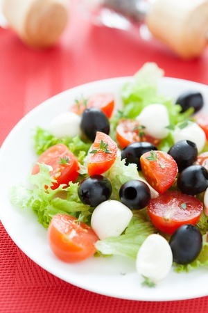 Salad with mozzarella and cherry tomatoes, vertical composition photo