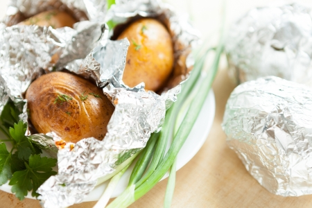 potatoes baked parsley and onions, close-up Stock Photo - 17280599