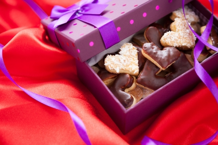 Valentine cookies in box, close up photo