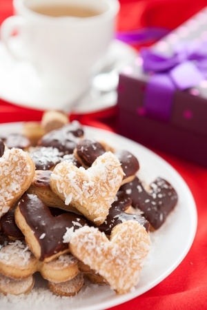 sweet cookies for with coconut and chocolate Valentine photo