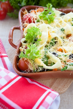 freshly cooked pasta with vegetables, close up Stock Photo - 17364361
