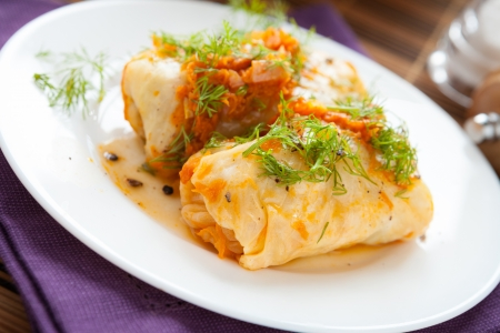 stuffed cabbage roll with rise and vegetables