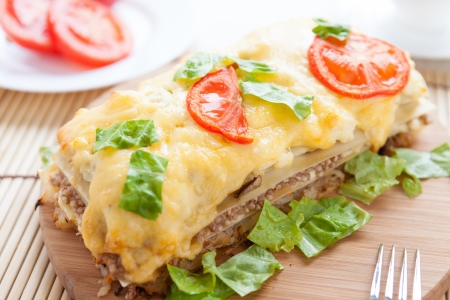 vegetable lasagna with buckwheat and cheese, closeup photo