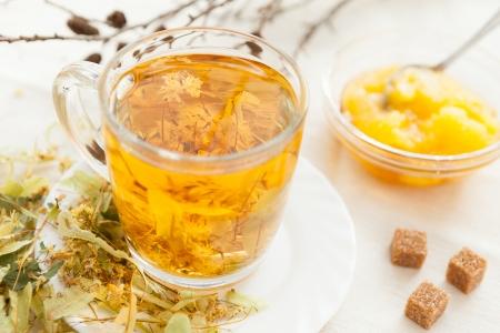 linden tea: Linden tea with floral honey, closeup Stock Photo